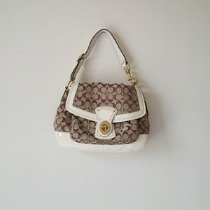 Coach brown and white patterned shoulder bag